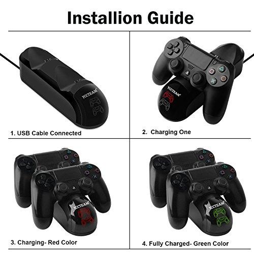 PS4 Ladegerät, Dualshock 4, für Sony Playstation 4/PS4 Slim/PS4 Pro, kabellos, mit Ladekabel
