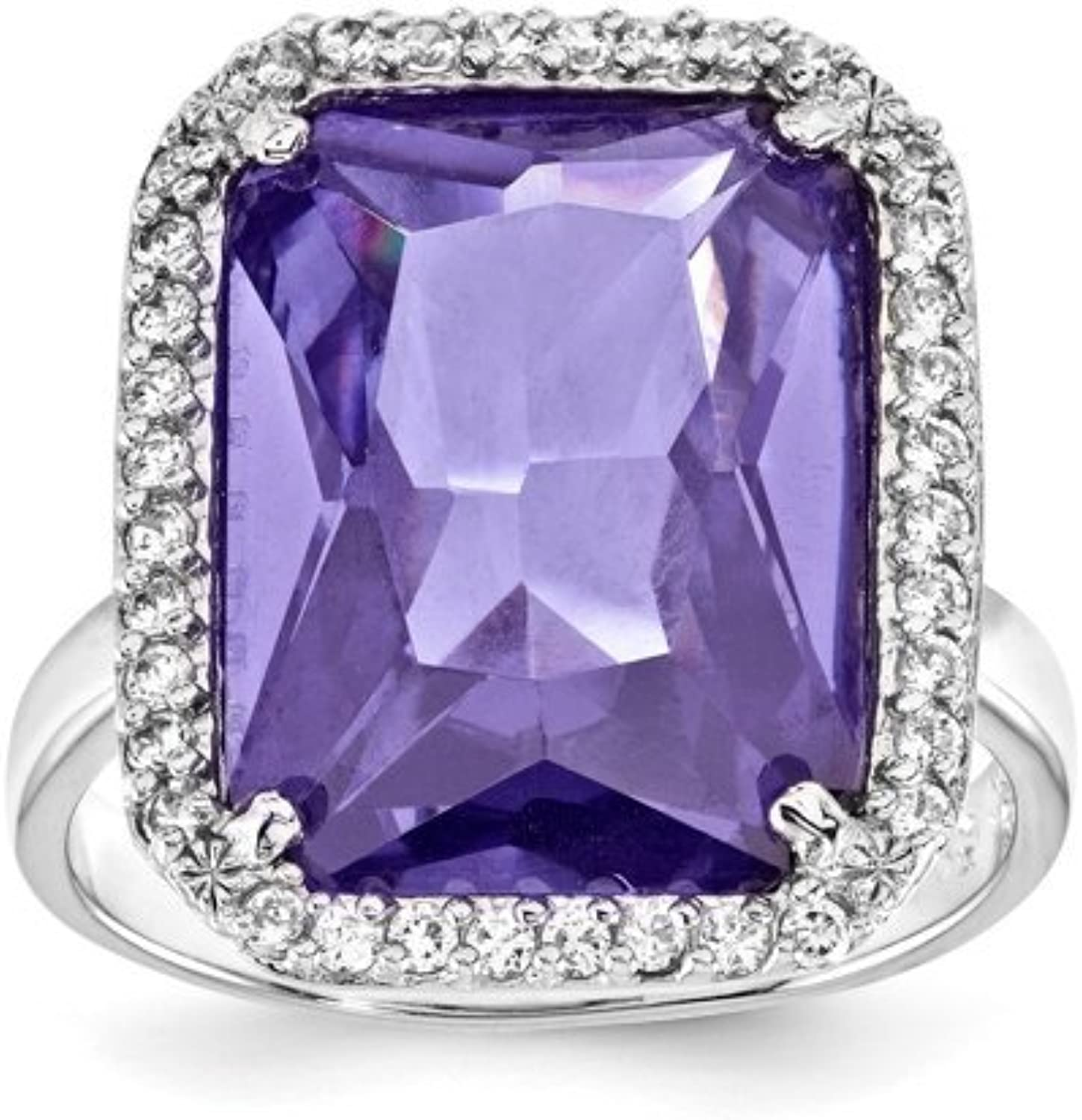 gold and Watches Sterling Silver Rectangle Clear & Purple CZ Ring