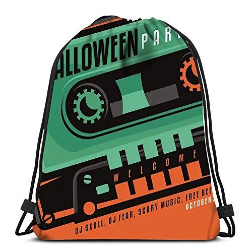 WH-CLA Bolsas De Cordones Unisex,Concepto De Diseño Creativo De Fiesta De Halloween con Forma De Calavera Hecha como Parte De Un Casete De Música Cómodo Mochila Cordónes Durable Gimnasia Saco Bolsa