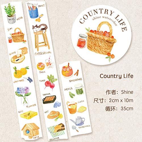 JIAODIA Cinta Decorativa de washi Country Sen Life Paper Cape Shine Original Planta Fruta Artículos Ilustración 20mm