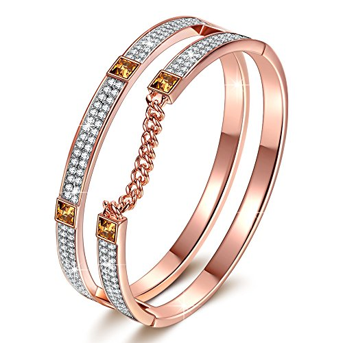 J.NINA Gifts Christmas Rose-Gold Plated Bracelets London Impression Bangle for Women with Crystals from Swarovski Birthday Anniversary Jewelry Gift for Women Girlfriend Lover Wife Daughter Wife