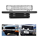Nilight - 90021B Led Light Bar Mounting Bracket Front License Plate Frame Bracket License Plate Mounting Bracket Holder for Off-Road Lights LED Work Lamps Lighting Bars,2 Years Warranty