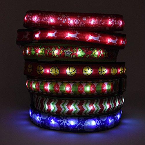 Hot Dog Safety Collar - Large- Reindeer US Made LED Light Up Collar with Rechargeable Battery
