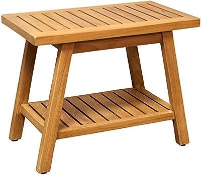 サイドテーブル スナックテーブルチーク屋内および屋外シャワーベンチバスルームベンチサイドテーブルベッドサイドテーブル(24インチ) サイドテーブル (Color : Brown, Size : 23.2*13.8*18.1 inches)