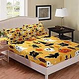 Erosebridal Halloween Fitted Sheet Twin Cartoon Pumpkin Sheet Set Lantern Bedding Ghost Bed Cover for Kids Boys Girls Bedroom Decor 2 Pcs Bedding Set (1 Fitted Sheet 1 Pillow Case) Orange