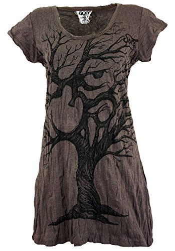 Guru-Shop Sure Long Shirt, Minikleid OM Tree, Damen, Taupe, Baumwolle, Size:L (40), Bedrucktes Shirt Alternative Bekleidung