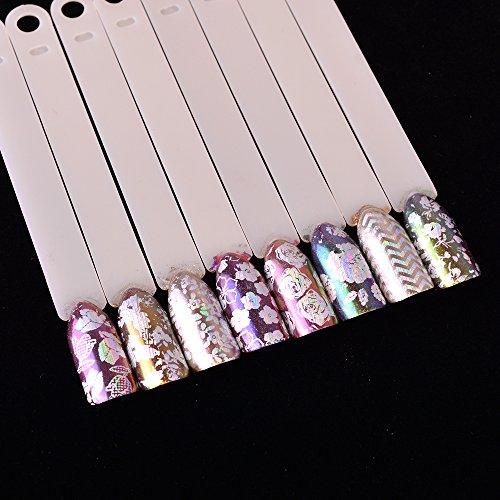 MEIYY Autocollant D'ongle 8Pcs / Set Transparent Coloré Papier Ongles Feuille Rose Stripe Fleur Diy Laser Glitter Nail Autocollant Adhésif