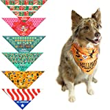 Stonehouse Collection 6 pc Holiday Dog Bandana Med to Large Dogs - Set of 6 - Christmas, Halloween, Thanksgiving, Valentine's Day, St. Patricks Day, Patriotic