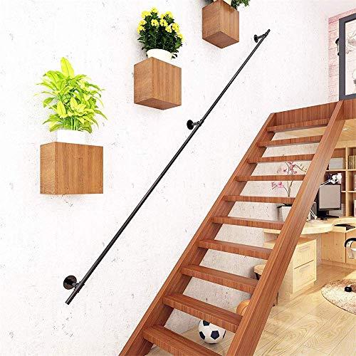 YIKE-Stair Handrail Pasamanos de escalera de hierro forjado negro 30-600cm, Barandilla de seguridad para pasillo Pasillo para niños Baranda industrial Retro, interior y exterior para niños