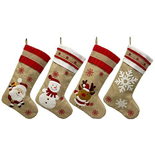 Submarine Nikolausstiefel zum Befüllen und Aufhängen, Jute Weihnachtsstrumpf, Nikolausstrümpfe mit weihnachtlicher Stickerei Weihnachtsdeko, Große Nikolaussocken mit weichem Innenfutter (4er Set)