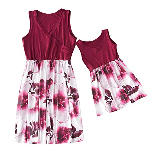 Mommy and Me Dresses Casual Floral Family Outfits Summer Matching Midi Dress Sleeveless Tank Dresses Red