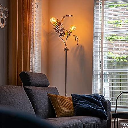 Qazqa Lampadaire | Lampe sur pied Rustique - Botanica Lampe Doré/Laiton - E27 - Convient pour LED - 2 x 60 Watt