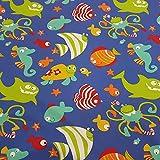 Stoff Meterware Baumwolle Fische Hai blau bunt Kraken Meer