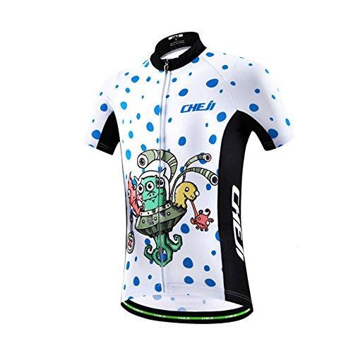 LSHDCER Kinder Radsport Bekleidung(Fahrrad Trikot Kurzarm/Radhose), Trikot-Weiß, 122/128(Herstellergröße: L)