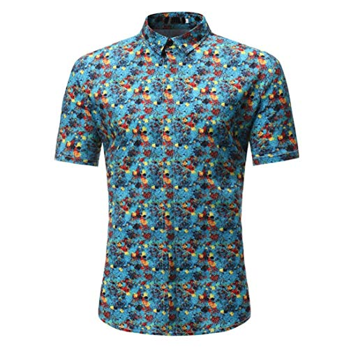Willlly 2018 Fashion Tops Shirts Mens Chic Zomer Vrije tijd Casual Shirts Mannen Strand Nieuwe Bloem Gedrukt Blouse Casual Korte Mouw Slim Fit Shirt Tops