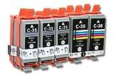 Set de 10 Cartuchos de Tinta Compatible con Canon Pixma IP100, IP100v, IP110. Reemplaza PGI-35, PGI-35BK, CLI-36, CLI-36C.