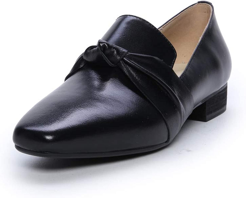 2c9477a6f9300 Nine Seven Genuine Leather Women's Round Toe Flat Chunky Heel Cute ...