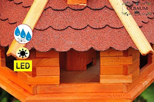 Massiv-Vogelhaus, XXL ca. 70-75 cm, wetterfest Massivdach, mit Ständer Standfuß und Silo,Futtersilo für Winterfütterung mit Beleuchtung,Licht-LED -Holz Nistkästen & Vogelhäuser- aus Holz Holz rot mit Ständer BGXL75roMS rote Bitumenschindel - 4