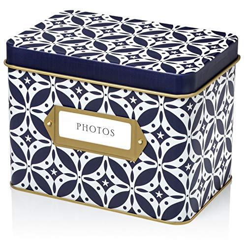 Jot & Mark Photo Storage Organizer Box Set | 200 Archival 4x6 Protector Sleeves, Customizable Matching Dividers, Decorative Tin