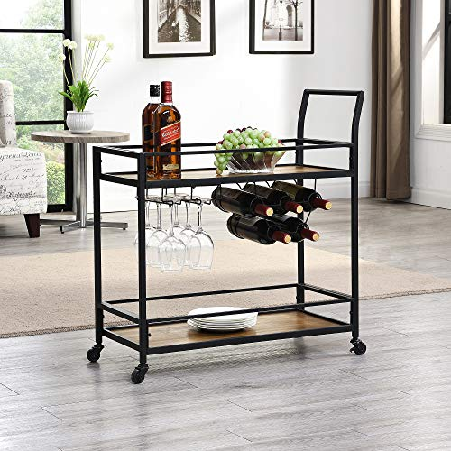"FirsTime & Co. Gardner Industrial Bar Cart, 32"" H x 15\"" W x 12.25\"" D, Rustic Brown"