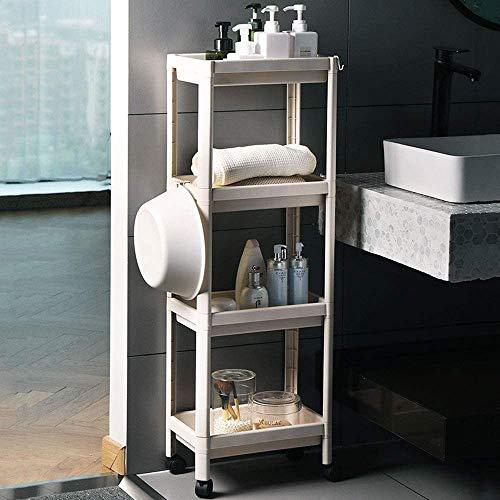 ONETR - Carro de almacenamiento de 4 niveles, carro de utilidad con ganchos, estantes de pie para cocina, baño, sala de estar, dormitorio, lavandería
