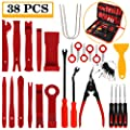 Manfiter 38Pcs Trim Removal Tool, PryKit Car Panel Tool Radio Removal Tool Kit, Auto Clip Pliers Fastener Remover Pry Tool Kit, Car Upholstery Repair Kit, Prying Tool Kit with Storage Bag 2 (Red)