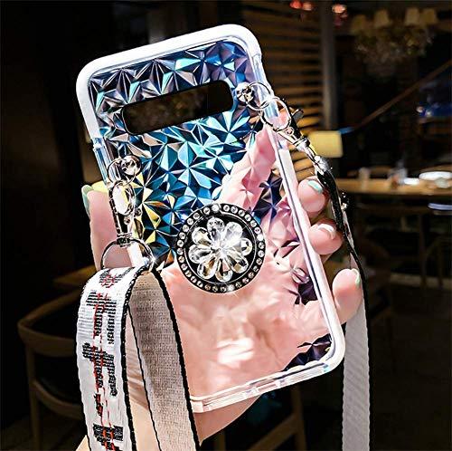 Herbests Compatible avec Samsung Galaxy S10 Plus Coque Antichoc Brillant Strass Souple TPU Silicone Étui Sac à Bandoulière de Téléphone Ultra Mince Housse de Protection Anti-rayures Bumper Case, Blanc