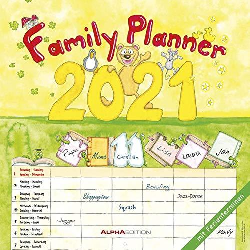 Familienplaner Cartoon 2021 - Broschürenkalender 30x30 cm (30x60 geöffnet) - Family planner - mit 6 Spalten u. Ferienterminen - viel Platz für Notizen - Alpha Edition: by Silke Leskien