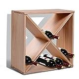 HOMCOM Mobiletto Portabottiglie per Vini e Liquori 24 Bottiglie, 4 Sezioni Legno Naturale, 50 x 26 x 50cm