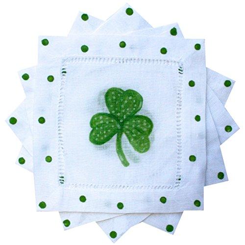 Green Shamrock St. Patricks Day Linen Cocktail napkins