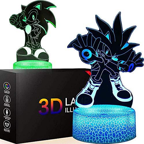 Lámpara de luz 3D Sonic El erizo Juguetes Dos Patrones Niños Luz de la Noche de Juegos Luces Decoración del Hogar Niños Regalos Hogar Oficina Decoración de la Lámpara