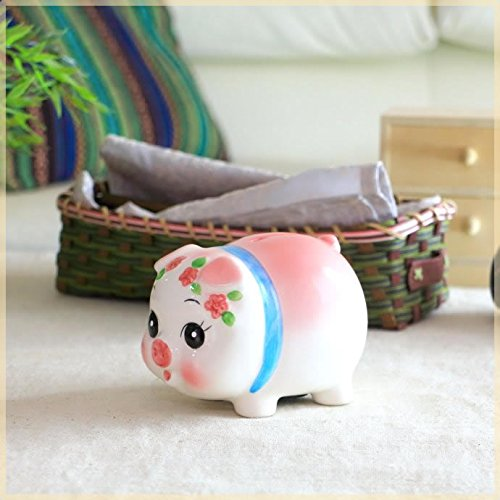 ぱっちりお目めの豚の貯金箱 小サイズ ブタ ぶた バンク 座ってる 貯金豚 雑貨 栓付き 国産 瀬戸焼
