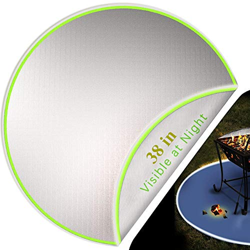 FMXYMC Fire Pit Mat, Round Fire Pit Pad, Visible at Night with Reflective Strips, Patio Lawn Deck Protector, Heat Resistant Shield, for Bonfire/Grill/Stove/Grass,2 Layers,38 inch