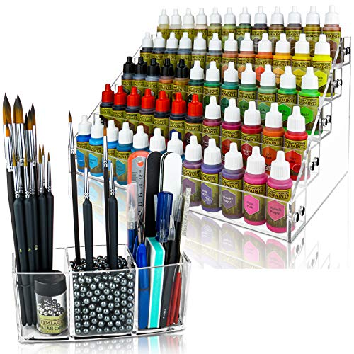 Acrylic Paint Organizer & Paint Brush Holder (Pewter Beads). Perfect for Craft & Hobby Paint Storage. The Acrylic Paint Rack fits 2oz Acrylic Paint Bottles, Paint Tubes, Miniature Paints & more.