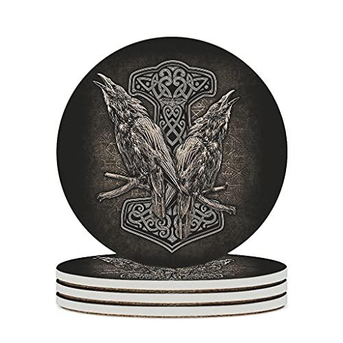 Tentenentent Posavasos de cerámica, diseño de martillo vikingo, 6 unidades, color blanco