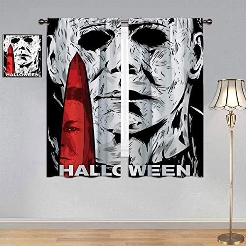 ARYAGO Cortinas negras para Halloween matas, película de terror Michael Myers cortina de ventana de tela para dormitorio infantil de 106 x 182 cm