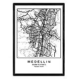 Nacnic Blatt Medellin Stadtplan nordischen Stil schwarz und