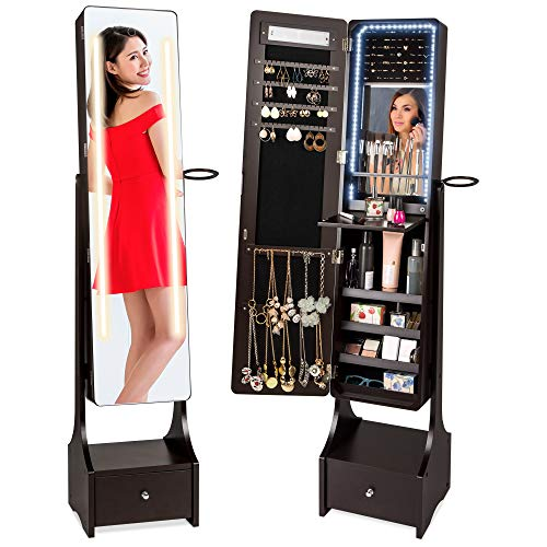Best Choice Products Full Length Standing LED Mirrored Jewelry Makeup Storage Cabinet Armoire w/Interior & Exterior Lights, Touchscreen, Shelf, Velvet Lining, 4 Compartments, Drawer, Brown