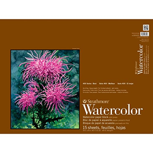 Strathmore 400 Series Watercolor Block, Cold Press, 18'x24' Bound (4 sides), 15 Sheets/Block