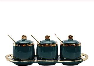 SMEJS Bouteille de Condiment en céramique créative Pot d'épices sel Sucre récipient de thé Pot de Rangement Cuisine ménage...