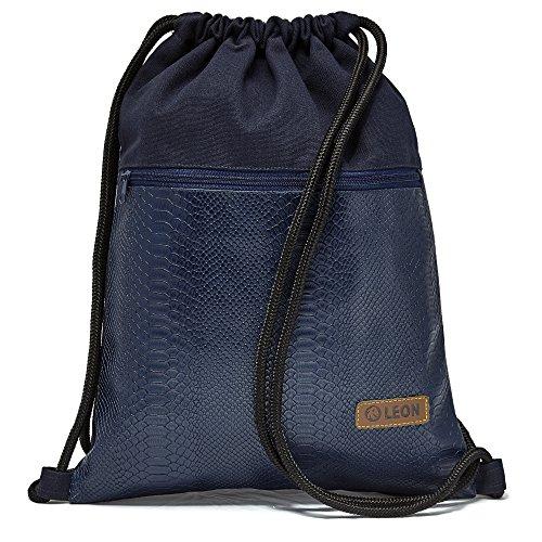 By Bers LEON Turnbeutel mit Innentaschen in Kork oder Schlange -DesignRucksack Tasche Damen Herren & Teenager Gym Bag Draw String (schlangeblau)