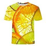 SHUAIFA - Camiseta de manga corta para hombre, diseño de frutas creativas, impresión 3D, suave, secado rápido, manga corta, moda casual