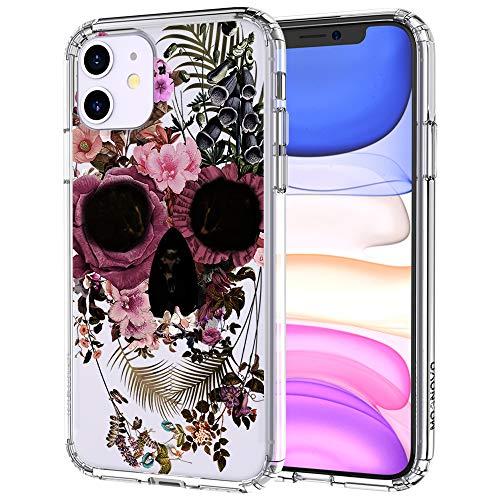 MOSNOVO iPhone 11 Hülle, Blumen Blühen Flower Totenkopf Schädel Muster TPU Bumper mit Hart Plastik Hülle Durchsichtig Schutzhülle Transparent für iPhone 11 (2019) (Flower Skull)
