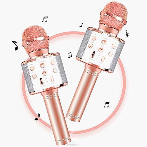 Micrófono Karaoke Bluetooth,4 en1 Microfono Inalámbrico Karaoke Portátil con Luces LED para Canta Partido Musica,Fiesta de cumpleaños de Navidad Compatible con Android/iOS PC, AUX Teléfono Inteligente