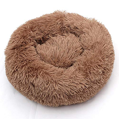 Promworld Deluxe Pet Bed for Cats and Dogs,Dog kennel pet bed, winter pet kennel-Brown_80CM in diameter,Dog Cat Cushion Bed Sleeping Bag and Improved Sleep