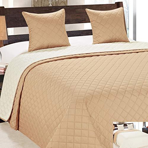 Zweiseitige Tagesdecke Bettüberwurf 3 TLG. 220x240 +2 Kissenbezüge Vigo Cremig Beige Ecru 10