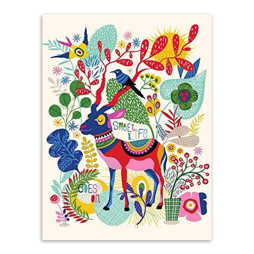 Lindo animal lienzo pintura núcleo mural sofá fondo pintura alpaca caballo oveja niños habitación decoración pintura 60x80cm2
