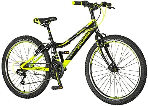 Bicicletta per bambini [18 pollici verde 20 pollici rosso] regalo per ragazzi a partire dai 7 anni con supporto per bicicletta per bambini (24 pollici nero verde)
