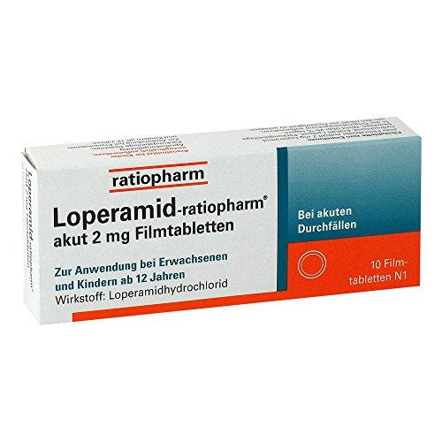 Loperamid-ratiopharm akut Filmtabletten, 10 St. Tabletten
