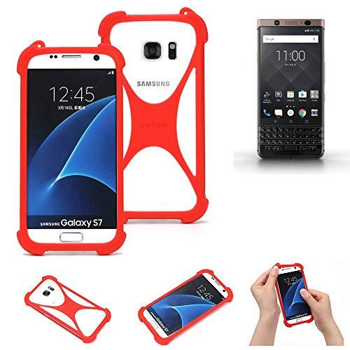 K-S-Trade® Handyhülle Für BlackBerry KEYone Bronze Edition Schutzhülle Bumper Silikon Schutz Hülle Cover Case Silikoncase Silikonbumper TPU Softcase Smartphone, Rot (1x)